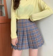 High Waisted And Versatile Blue Check Skirt