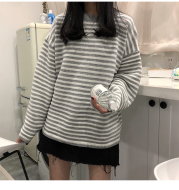 Women's Loose Long-sleeved Striped Blouse
