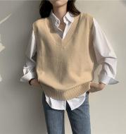 V-neck Vest  Seeveless Knitted Waistcoat Student Sweater Women