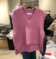 V-neck Split Solid Color Knitted Vest Temperament Slim And Slim