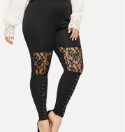 European And American New Hot Style Lace Stitching Hoop Leggings