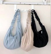 Rural Style Cloth Bag With Ruffled Lace Shoulder Strap
