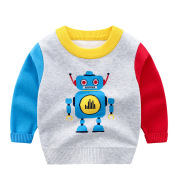 Korean Version Of Robot Boy Crew Neck Pullover Sweater