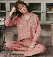 Pajamas women's small lapel cotton long sleeve home service