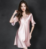 New Pajamas Women's Summer Thin Silk Short-sleeved Lace