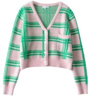 Plaid Color Matching Knitted Cardigan French Niche Retro