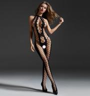 Sexy Lingerie Female Open File Uniform Hollow Open Back Black Silk Mesh Socks Pajamas