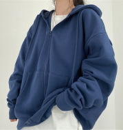 Women's Loose Mid-Length Plus Fleece Hooded Jacket
