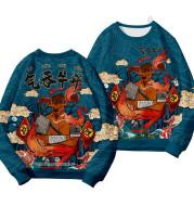 Swallowing Bullfighting Plus Velvet Long-sleeved Round Neck Sweater