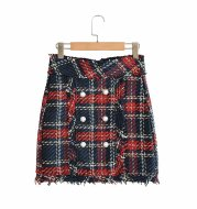 High Waist Slim Double-Breasted Tweed Skirt