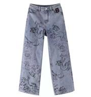 Fashion Casual Women's Cartoon Graffiti Jeans