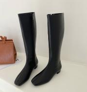 Knight Boots Shoes Flat-Heel Knee Zipper Winter Casual Women Long for Round-Toe