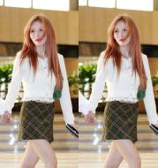 High-Waist Plaid Irregular Skirt Temperament Retro Meat-Covering Slim Short Skirt