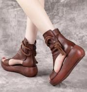 New High Top High Slope Heel Sandals Soft Leather Platform Fish Mouth Sandals