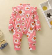 Toddler Girl Sunflower Print Romper Long Fly Sleeve Ruffle Front Hidden Zipper Jumpsuits For Newborn Spring Baby Clothes