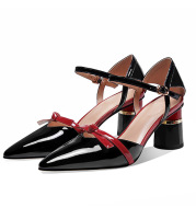 Women's Shoes With Pointed Toe Chunky Heels With Metal Buckle