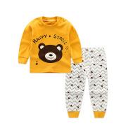Children's Underwear Set Long-sleeved Color Matching Cotton Round Neck Shoulder Buckle