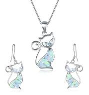 New Aobao Cat Earrings Necklace Little Girl Jewelry