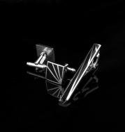 Men's Square Black Enamel White Steel Copper Cufflinks
