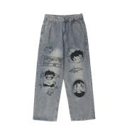 Cartoon Print Jeans Men's Loose Straight Leg Pants