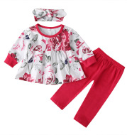 Baby Print Suit Long-sleeved Ruffle Top Trousers