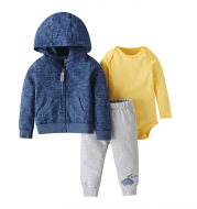 Three-Piece Baby Long-Sleeved Hooded Sweater And Romper For Men And Women