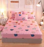 New Style Brushed Quilted Bed Sheet Three-piece Quilted Pillowcase