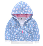 Girls Candy Color Hooded Zipper Coat Tops