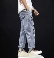 Ripped Washed Jeans Male Youth Popular Straight Loose Fat Pants Trend