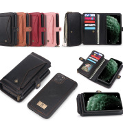 Multifunctional Three-Fold Zipper Wallet Magnetic Case