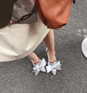 Leather Sandals Simple And Elegant Bow Knot Temperament Women's Shoes