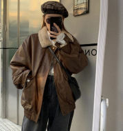Women's Fashion Retro Leather  Warm Jacket