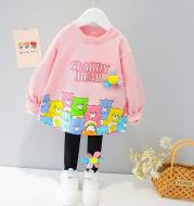 Children's Pants Suit Girls Cartoon Sweater Two-Piece Baby Girl