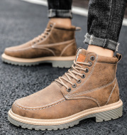 Men's Casual Workwear Leather Boots Winter Warm Men's Shoes