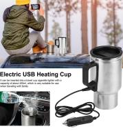 Stainless Steel Vehicle Heating Cup Electric Heating Car Kettle Camping Travel Kettle Water Coffee Milk Thermal Mug