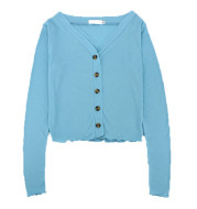Blue V-Neck Curled Trim Top Spring T-Shirt Small Jacket Women