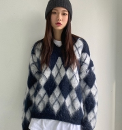 Retro Wild V-neck Mohair Rhombus Knit Pullover Loose Long-sleeved Outer Sweater Women