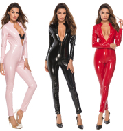 Corset, Mirrored One-piece Leather Jacket, Patent Leather Zipper Pants, Bright Leather Jacket