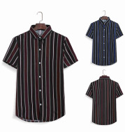 Men's Casual Beach Street Style Fashion Striped Color Block Short Sleeve Shirt
