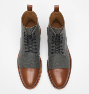 Round Toe Lace-up Low Boots