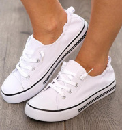 Shallow Flat Heel Lace-Up Canvas Sneakers