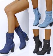 High-heeled Denim Mid-leg Boots For Women