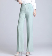 Pure Color Casual Spring Suit Straight-Leg Pants