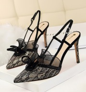 Women's Shoes High Heel Shallow Mouth Pointed Toe Mesh Lace Cutout Strap Sandals