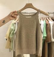 Knitted Suspender Short Off Shoulder Sleeveless Vest