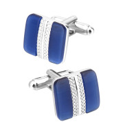 Metal Inlaid Blue Opal French Cufflinks Suit Business Simple