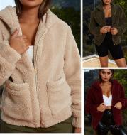 Long Sleeve Zipper Plush Jacket Coat Solid Color Women's Hooded