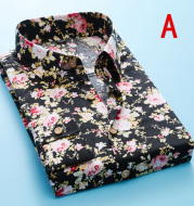 Long Sleeve Printing Casual Men's Floral Shirt Sand