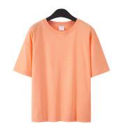 Pure Cotton Drop Shoulder Couple Short Sleeve Drop Shoulder Plus Fat Solid Color