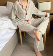 Trade Casual Nightwear In Contrasting Colors With Striped Trim